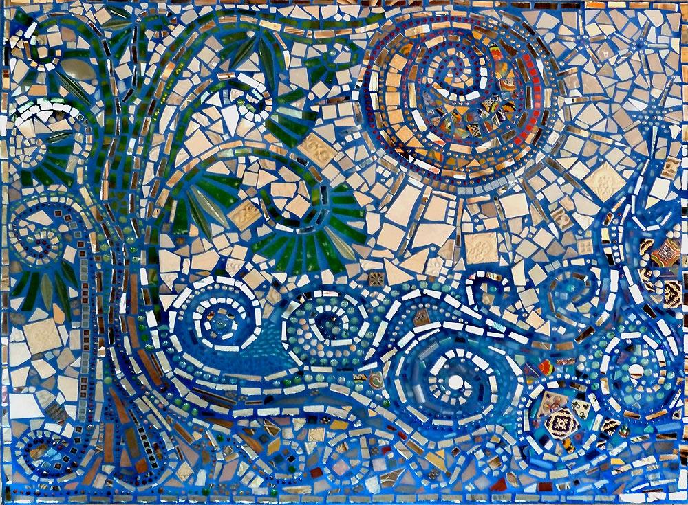 Flow mosaic mural moonfish artworks for Mural mosaic