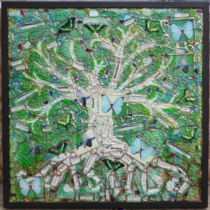 Mosaic Collage using glass titled Invocation