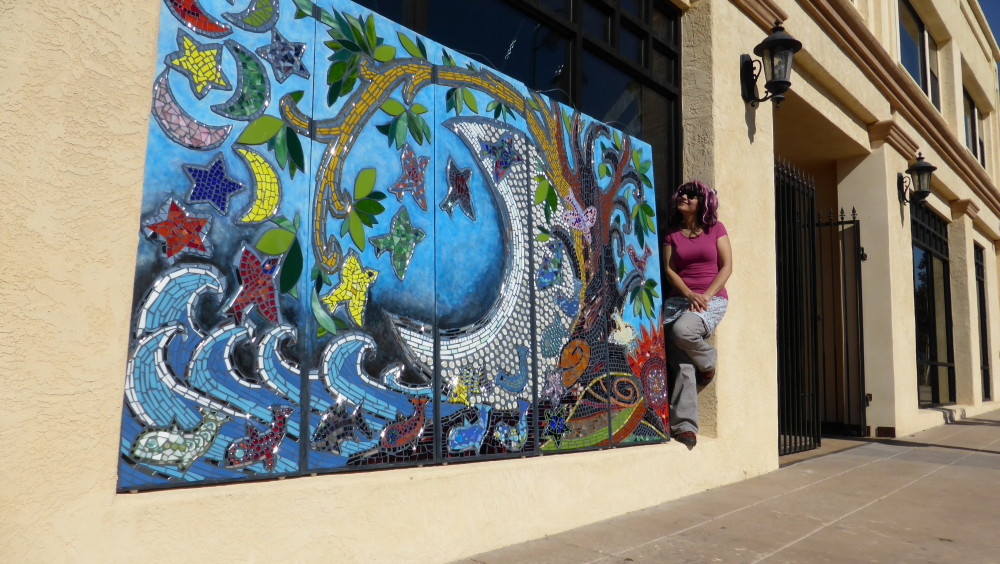 Mosaic mural for vallejo art windows moonfish artworks for Mural mosaic