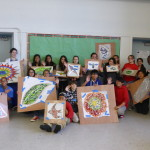 architectural mosaics co-creating mosaic art community art community mosaic glass mosaic glass mosaic mural mural art school art mosaic urban mosaic art youth mosaics  Hogan Middle School Mosaic Mural Completed!! P1010950-150x150