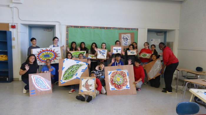 architectural mosaics co-creating mosaic art community art community mosaic glass mosaic glass mosaic mural mural art school art mosaic urban mosaic art youth mosaics  Hogan Middle School Mosaic Mural Completed!! P1010950-700x393
