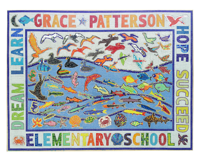 architectural mosaics co-creating mosaic art community art community mosaic glass mosaic glass mosaic mural large scale art big art mosaic classes instruction mosaic mural mural art mystical mosaic art planet friendly art public mosaic art school art mosaic youth mosaics  School Mosaic Mural - Patterson Elementary patterson_highres_8x10-copy-700x560