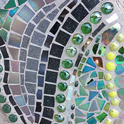 architectural mosaics ecological re-use glass mosaic how to make mosaics mosaic art mosaic sculpture Nature Mosaics utilitarian art  Dragonfly Mosaic Rock Bench Garden Seat dragonfly-rock-mosaic-bench-top-detail-square-500x500sfw