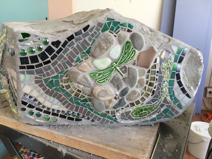 architectural mosaics ecological re-use glass mosaic how to make mosaics mosaic art mosaic sculpture Nature Mosaics utilitarian art  Dragonfly Mosaic Rock Bench Garden Seat rock-dragonfly-bench-studio-hydraulic-cart-700x525sfw-700x525