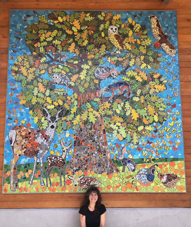 architectural mosaics co-creating mosaic art community art community mosaic how to make mosaics large scale art big art mosaic art mosaic classes instruction mosaic mural mural art Nature Mosaics public mosaic art school art mosaic tree of life Uncategorized youth mosaics  Marin Community Built School Mosaic Mural Installed!! marin-school-oak-tree-animals-mosaic-mural-making-mosaics-grouting-team-sophia-sharper-cropped-640x763-sfw