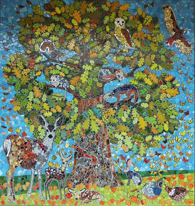 image of Marin Community Built School Mosaic Mural -Oak Tree Of Life with California Native Wildlife mule deer doe fawns barn owl gray squirrel red squirrel opossum gray fox sleeping in tree red tailed hawk hare rabbit quail hen and quail cock butterflies moths california poppies oak leaves bees hummingbirds