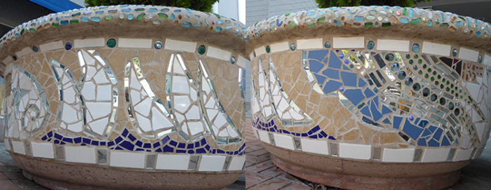 architectural mosaics co-creating mosaic art community art community mosaic green art large scale art big art mosaic art Nature Mosaics public mosaic art tree of life upcycling urban mosaic art  Mosaic Planters Community Participation planters-mosaic-georgia-composite-waves-sailboats-napa-river-750x290-700x271