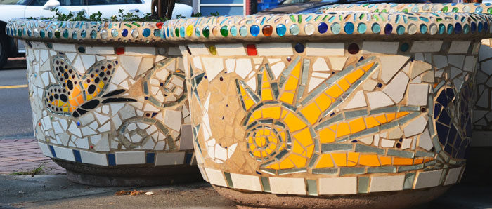 architectural mosaics co-creating mosaic art community art community mosaic green art large scale art big art mosaic art Nature Mosaics public mosaic art tree of life upcycling urban mosaic art  Mosaic Planters Community Participation planters-mosaic-sun-butterfly-700x298sfw-700x298