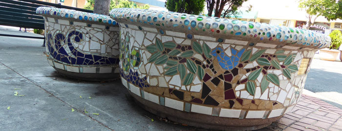 architectural mosaics co-creating mosaic art community art community mosaic green art large scale art big art mosaic art Nature Mosaics public mosaic art tree of life upcycling urban mosaic art  Mosaic Planters Community Participation planters-mosaic-waves-tree-of-life-700x269sfw-700x269