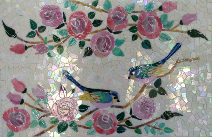 glass mosaic  Glass Mosaic Backsplash - Birds & Roses Appliqué Technique birds-roses-backsplash-full-banner-840x543sfwe-3-700x453