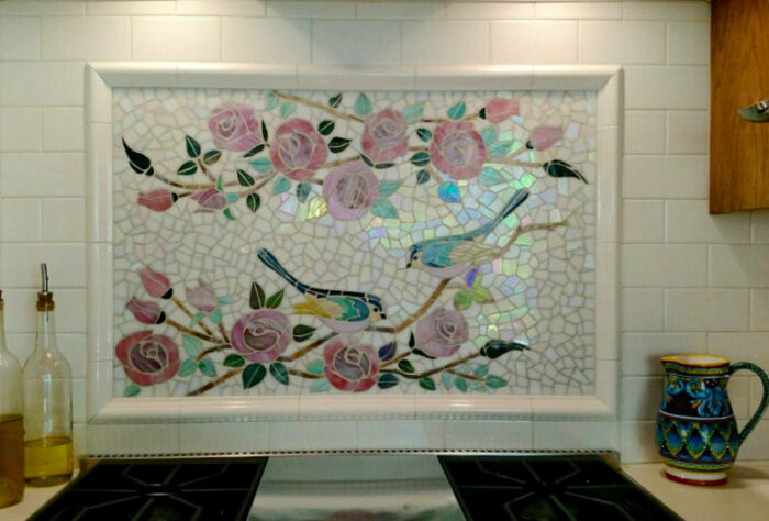 glass mosaic  Glass Mosaic Backsplash - Birds & Roses Appliqué Technique birds-roses-backsplash-installed-800x542sfw-700x474